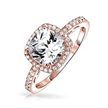 buy Bling Jewelry 925 Sterling Silver Rose Gold Plated Cz Cushion Cut Halo Engagement Ring
