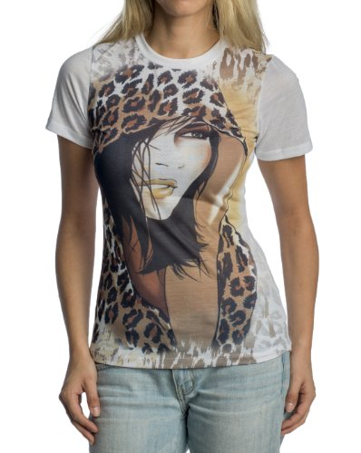 Women'S Leopard Print Lady Graphic T-Shirt By Gazoz Medium front-757817