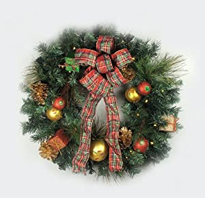 "24"" Pre-Lit LED Pre-Decorated Gift Box & Bow Artificial Christmas Wreath - Clear"