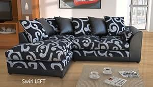 New Dylan Zina Black Swirl Fabric Corner Sofa Left And