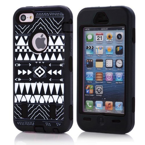 Apple Iphone 5c Fashion Camo Zebra Combo Print & Aztec Tribal Print Hybrid Armorbox Defender Case Protection Impact Bumper Dual Layer Heavy Duty Case Pc&rubber Silicone Material with Hard Holster (Not Fit Iphone 5 & 5s / Bayke Brand / Screen Protector Not Include) (Aztec Tribal Print) at Amazon.com