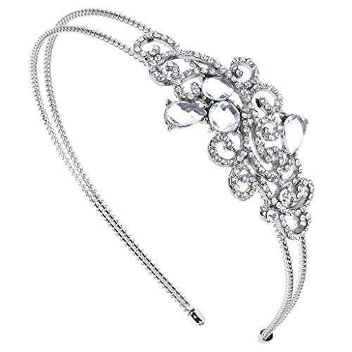 Lux Accessories Bridal Bride Wedding Bridesmaid Tear Drop Stretch Headband Head Band