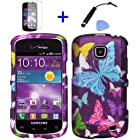 4 items Combo: Mini Stylus Pen + LCD Screen Protector Film + Case Opener + Purple Pink Green Yellow Blue Multi Color Butterfly Design Rubberized Snap on Hard Shell Cover Faceplate Skin Phone Case for Straight Talk Samsung Galaxy Proclaim 720C SCH-S720C / Verizon Samsung Illusion i110