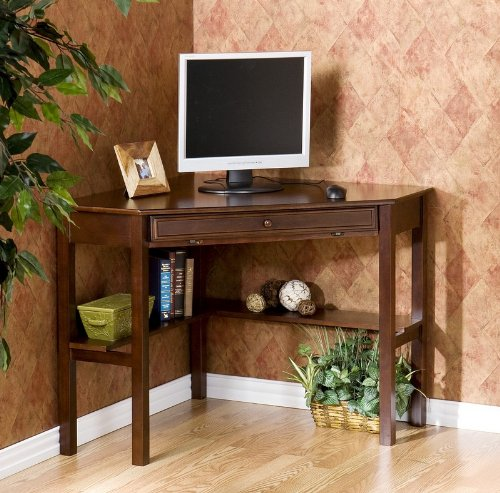 Buy Low Price Comfortable Corner Computer Desk with Slide Out Keyboard Tray in Espresso Finish (B0034GCR9E)