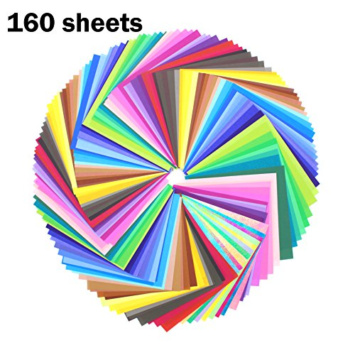 Zicome 50 Color Origami Paper(3 sheets of each color) And 10 Colorful Glitter Paper(1 sheets of each color)