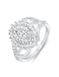 Mahi Valentine Gift Rhodium Plated Springfields Ring With CZ Stones For Women FR1100052R