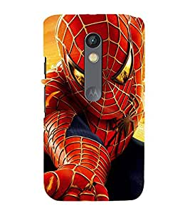 printtech Spider Red Design Back Case Cover for Motorola Moto X Play / Motorola Moto X Play Dual SIM