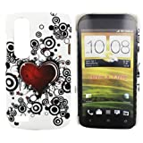 Kit Me Out UK Hard Clip-on Case for HTC Desire X - White / Red / Black Tattoo Heart