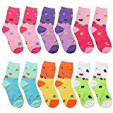 Falari 12-Pack Girl Kids Crew Socks (4-6 Years, Butterfly) 66-620-24M