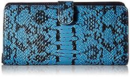 COACH Women\'s Color Block Exotic Skinny Wallet LI/Navy Clutch