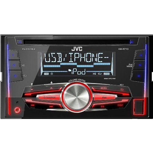 Jvc Double-Din In-Dash Stereo Cd/Usb Receiver, Usb Port, With Custom Color Illumination, 6-Key Presets, Aux Input, Usb Port For Iphone, Iheartradio Link Capability, And Pandora Internet Radio Capability, Music Playback For Ipod And Iphone, And Wireless Re