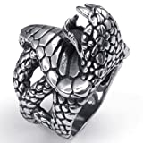 Konov Jewellery Vintage Stainless Steel Snake Gothic Biker Men's Ring, Color Black Silver, Size T (with Gift Bag)