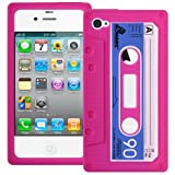 Pink Retro Xylo-Tape Cassette Silicone Cover / Skin / Case for the Apple iPhone 4 4G 4S.
