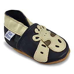 Petit Marin Beautiful Soft Leather Baby Shoes with Suede Soles - Toddler / Infant Shoes - Crib Shoes - Baby First Walking Shoes - Pre-walker Shoes - Jimmy Giraffe - 12-18 Months (20 Designs)