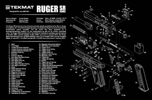 TekMat Handgun Cleaning Mat with Ruger SR Series Imprint, Black, 11 x 17-Inch