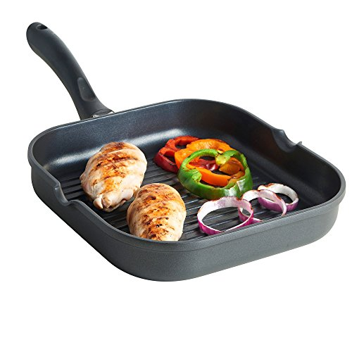 VonShef 11 Inch Non-Stick Cast Aluminum Clean Square Grill/Griddle Pan For Any Stovetop