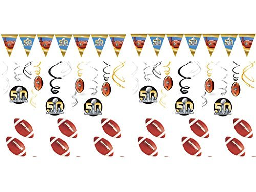 Super Bowl 2016 Party Banner Decorating Kit with 12 Football Stickers!