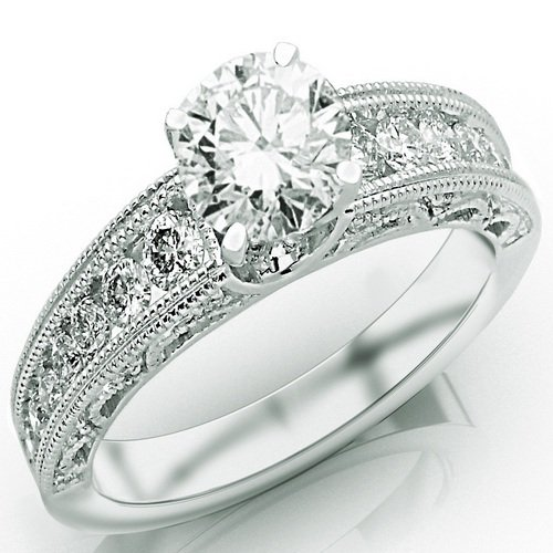 1.4 Carat Designer Channel Set Diamond Engagement Ring w/ Round Brilliant Cut Center (G Color SI2 Clarity)