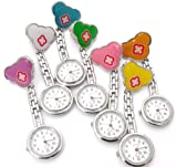 Collection& Joy Quality Quartz Nurse Doctors, Midwives Pocket Fob Watch Cute Mouse Red Cross Stainless Steel (Green)