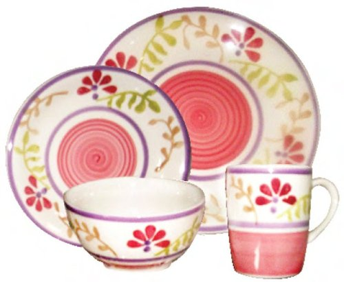 Gabrielle Bloom Pink Floral 16 Piece Dinnerware Set Service for 4