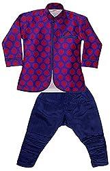 Viaan Retail Boys' Silk Sherwani and Breeches Set (VKBP10022915_2, Purple, 4-5 Years)