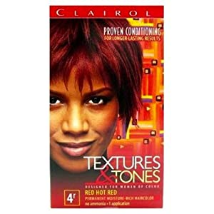 Clairol Textures & Tones Permanent Hair Color. COLORS: 1B Silken Black,1N Natural Black, 2N Dark Brown, 3N Cocoa Brown, 3RV Plum, 4R Red Hot Red, 4RC Cherrywood, 4RV Blazing Burgundy, 5G Light Golden Brown, 6BV Bronze, 6G Honey Blonde, 6R Ruby Rage, 7g .