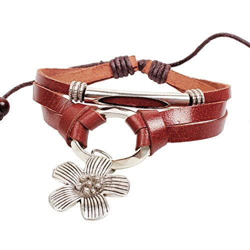 "Carat Lovers Retro Style Flower Pendant Handmade Woven Rope Leather Wrap Bracelet (Brown, Womens, 2.36""/6cm-3.54""/9cm in Diameter)"