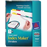 Avery Index Maker Clear Label Dividers, Easy Apply Label Strip, 5-Tab, Multi-Color, 25 Sets (11423)