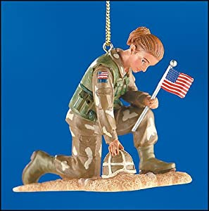 Christmas Ornament Bless Our Armed Forces Female Soldier