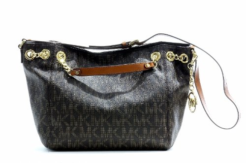 Michael Kors Women's Jet Set Chain Shoulder Tote Brown Handbag