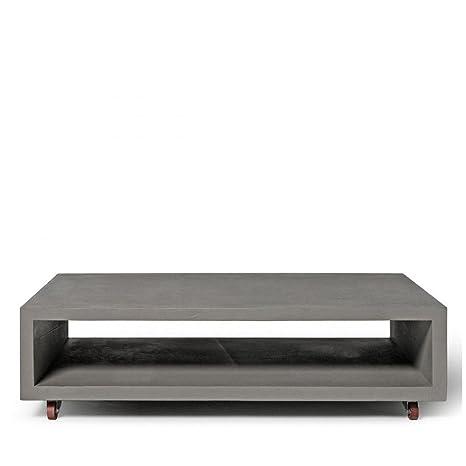 Lyon Beton cemento monoblocco tavolino con gambe in metallo (130x 70x 25)