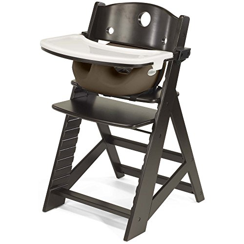Keekaroo Height Right High Chair Espresso With Chocolate Infant Insert And Tray, Espresso/Chocolate