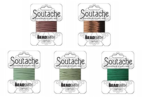 Beadsmith Soutache Braided Rayon Cord / Trim Bundle: 5 Colors, 3mm Wide, 3 Yds per color 'Choc-Mint Mix