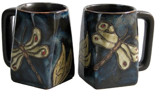 One (1) Mara Stoneware Collection - 12 Ounce Coffee Or Tea Cup Collectible Square Bottom Mug - Dragonfly / Insects Design front-157847