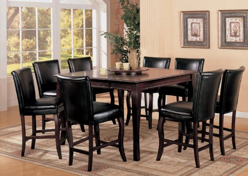 Buy Low Price Coaster 9pc Counter Height Dining Table & Stools Set with Lazy Susan Dark Cherry Finish (VF_AZ00-45862×28527)