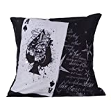 MeSleep Digitally Printed Ace Playing Card Cushion Cover - Black And White