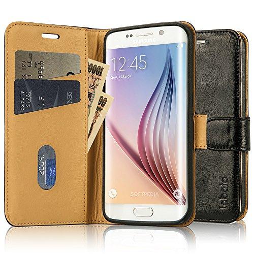 Galaxy S6 edgeケース 手帳型 Labato®case for Samsung S6 edge ケース 専用カバー 本革 牛革レザー TPU 財布型 スタンド機能 マグネット 手作り ハンドメイド カード収納 耐摩擦 耐汚れ 全面保護 フリップ 人気 横開き 全四色 生涯保障 (黒 lbt-S6E-02Z10)