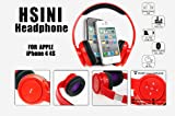 HSINI Red Wireless Bluetooth Stereo Headset Headphone Earphone for Apple iPhone 4S 4 3GS