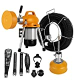 OrangeA Sewer Snake Drill Drain Auger Cleaner 99 FT 400 RPM 400W Wide Electric Drain Cleaning Machine 4 Cutters and 4 Augers Drain Cleaner Drum Auger Snake for 3/4