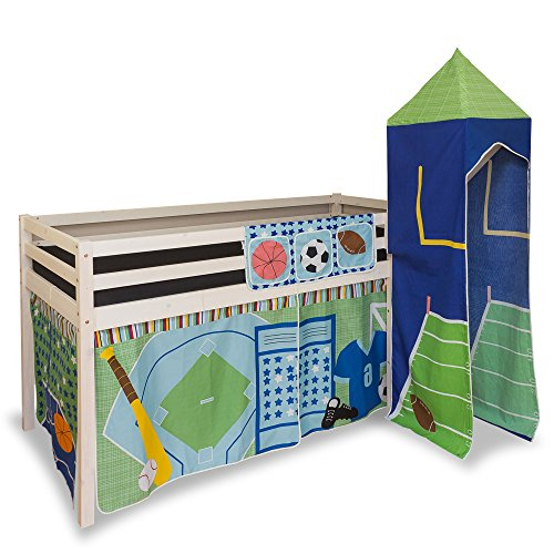 Lit enfant mezzanine+ rideau+tour bleu 90x200 cm