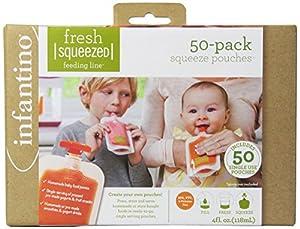 Infantino Fresh Squeezed - Bolsas para comida de bebé (50 unidades, para Squeeze Station) - BebeHogar.com