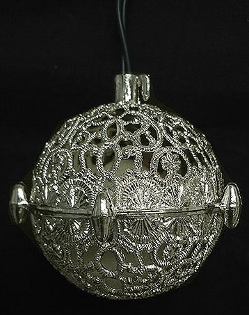 3″ Vintage Silver Ball Shaped Chirping Bird Christmas Ornament