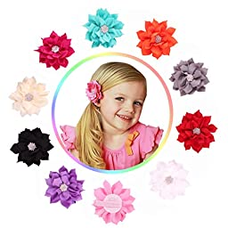Quest Sweet - Grosgrain Baby Hair Bow Clips (Headbands Not Included,11 Pack)