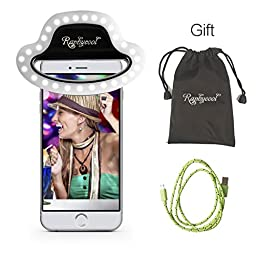 Selfie Ring Light, Raphycool LED Photography Fill Light-Camera Vedio Lighting for iPhone 6s/6 Plus/6s/6/5s/5 Samsung Galaxy S6 Edge/S6/S5/S4, Galaxy Note 5/4/3, iPad and Macbook.(Black)