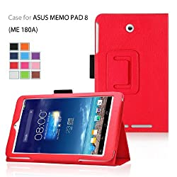 Elsse (TM) Premium Folio Case with Stand for Asus Tablet Case (Asus MeMO Pad 8(ME 180A), Red)