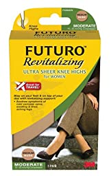Futuro Revitalizing Ultra Sheer Knee Highs, Nude, Large, Moderate (15-20 mm/Hg)