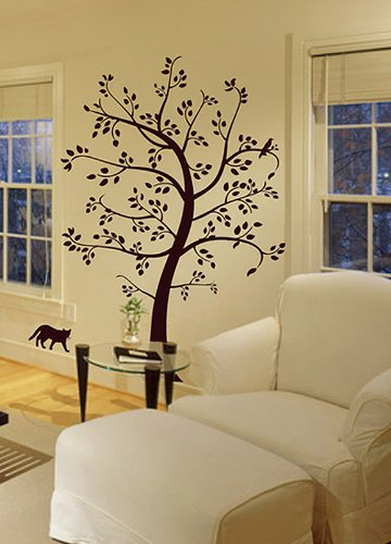 Big Tree with Cat and Bird Wall Decal Deco Art Sticker Mural