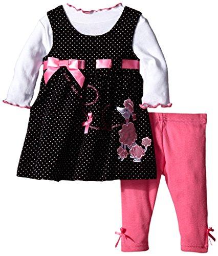 Blueberi Boulevard Baby Girls' Poodle Jumper Dress Set, Black, 3-6 Months