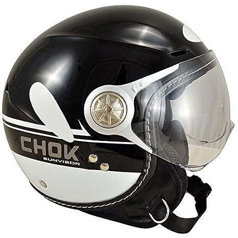 Casque moto jet CHOK CITY SUNVISOR 14 - Double écran - Noir / Blanc
