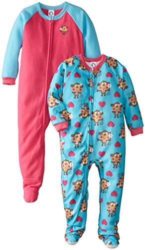 Gerber Little Girls' 2 Pack Girl Blanket Sleeper, Monkey, 3T front-236237
